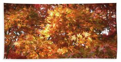 Autumn Leaves Painted Beach Towel by Judy Wolinsky
