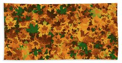 Beach Towel featuring the digital art Autumn Leaves Pattern by Methune Hively