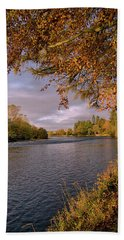 Autumn Light By The River Ness Beach Towel by Jacqi Elmslie