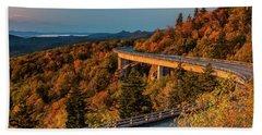 Morning Sun Light - Autumn Linn Cove Viaduct Fall Foliage Beach Towel