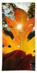 Autumn Maple Leaf Beach Towel