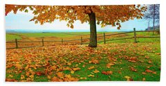 Autumn Maple Tree And Leaves Beach Sheet