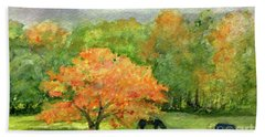 Autumn Maple With Horses Grazing Beach Towel