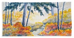 Beach Sheet featuring the painting Autumn Mist by Carolyn Rosenberger