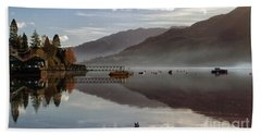 Autumn Mist On Loch Goil Argyll Beach Towel by Lynn Bolt