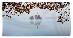 Autumn Mist Over Lake Bled Beach Sheet
