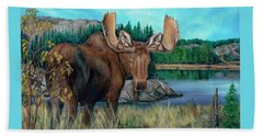 Autumn Moose Beach Towel