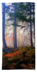 Autumn Morning Fire And Mist Beach Sheet