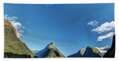 Beach Towel featuring the photograph Autumn Morning Milford Sound by Gary Eason