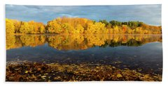 Autumn Morning Reflection On Lake Pentucket Beach Sheet