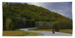 Autumn Motorcycle Rider / Red Beach Towel