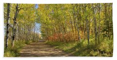 Autumn On The Trail Beach Sheet by Jim Sauchyn