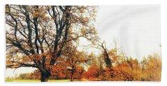 Autumn On White Beach Towel