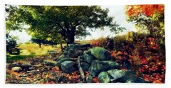 Beach Towel featuring the painting Autumn Orchard by Janine Riley