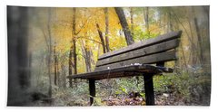Autumn Park Bench Beach Towel by Bonfire Photography