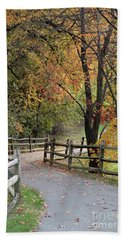 Autumn Path In Park In Maryland Beach Towel