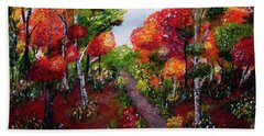 Beach Towel featuring the painting Autumn Path by Sonya Nancy Capling-Bacle