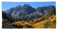 Beach Sheet featuring the photograph Autumn Peaks by Paula Guttilla