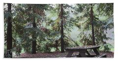 Autumn Picnic In The Woods  Beach Towel