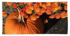 Autumn Pumpkin And Mums  Beach Sheet by Patricia E Sundik