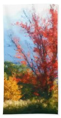 Autumn Red And Yellow Beach Towel