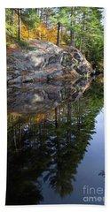 Autumn Reflections At Runaround Pond In Durham Maine  -20224 Beach Towel
