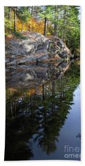 Autumn Reflections At Runaround Pond In Durham Maine  -20224 Beach Sheet