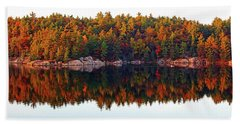 Beach Sheet featuring the photograph   Autumn Reflections by Debbie Oppermann