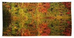 Autumn Reflections In A Pond Beach Towel