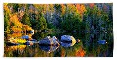 'autumn Reflections - Noyes Pond' Beach Sheet