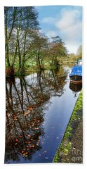 Autumn Reflections On  The Leeds Liverpool Canal Beach Towel