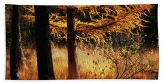 Autumn Scene In A Dark Forest, Pine Trees Gold Colored  Beach Towel
