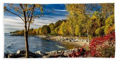 Autumn Scene Lake Ontario Canada Beach Sheet