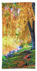 Beach Towel featuring the photograph Autumn Scenery At The Virginia Tech Duck Pond by Kerri Farley