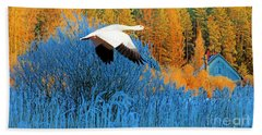 Autumn Snow Goose Beach Towel