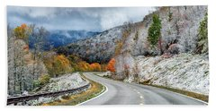 Autumn Snow Highland Scenic Highway Beach Towel