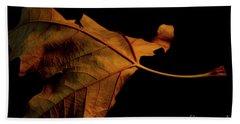 Autumn Solitary Leaf Beach Towel