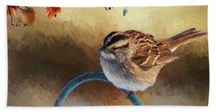 Autumn Sparrow Beach Towel