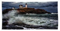 Autumn Storm At Cape Neddick Beach Towel by Rick Berk