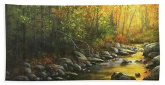 Autumn Stream Beach Towel by Kim Lockman