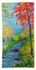 Beach Towel featuring the painting Autumn Stream by Sonya Nancy Capling-Bacle