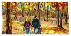 Autumn  Stroll On Mount Royal Beach Sheet by Carole Spandau
