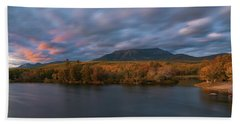 Autumn Sunset At Mount Katahdin Beach Sheet