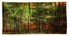 Autumn Sunset - In The Woods Beach Sheet by Judy Palkimas
