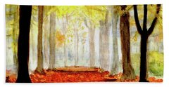 Beach Towel featuring the painting Autumn Trail by Yoshiko Mishina