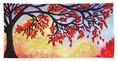 Beach Towel featuring the painting Autumn Tree by Sonya Nancy Capling-Bacle