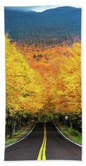 Autumn Tree Tunnel Beach Towel