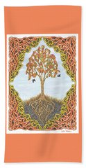 Beach Towel featuring the drawing Autumn Tree With Knotted Roots And Knotted Border by Lise Winne