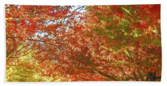 Autumn Trees Digital Watercolor Beach Towel