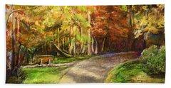 Beach Towel featuring the painting Autumn Walk by Bernadette Krupa